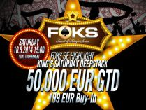 Friend of King's Series side event: 50k King's Saturday Deepstack. Please note: We are poker!