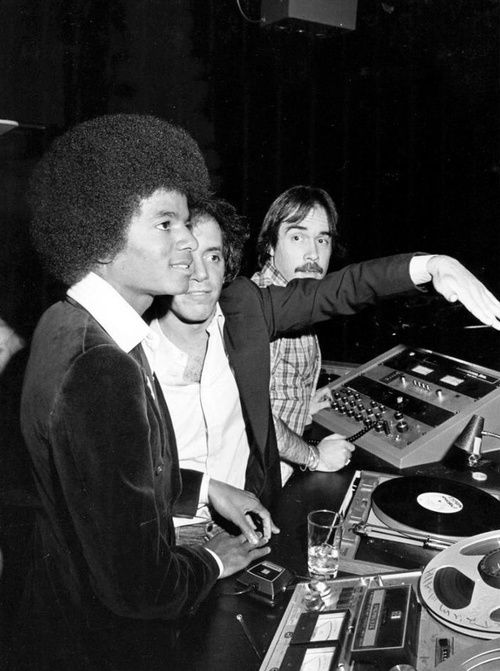 Michael Jackson and Steve Rubell in the DJ booth at Studio 54, 1977.