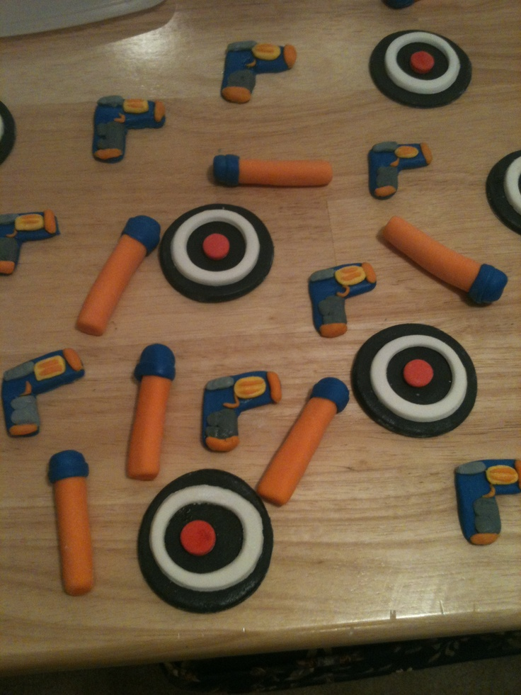 Nerf Gun Cupcake Toppers made by Me!