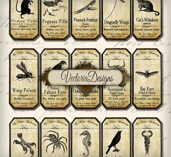 INSTANT DOWNLOAD Magic Animals Apothecary by VectoriaDesigns, $3.20