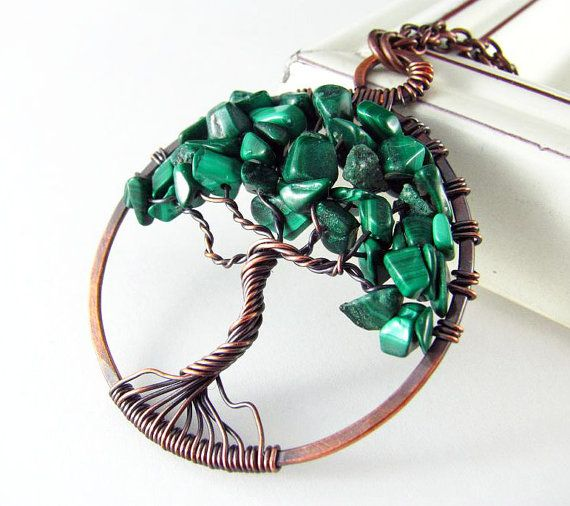 Levensboom hanger Wire Wrapped Jewelry Malachiet ketting