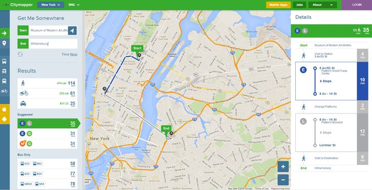 City Mapper // Making the large complicated city simple and usable by providing A to B journey planning with real-time information on subways, buses and bikes across all five boroughs.