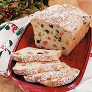 Stollen Loaves Recipe -The recipe for these fresh-baked fruit-dotted loaves comes from my grandmother. They fill our house with a heavenly aroma that is such a part of the season.—Tom Guenther, Oshkosh, Wisconsin