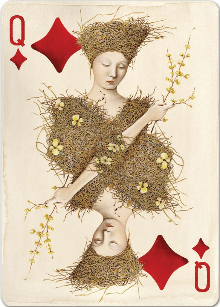 """Uusi's """"Pagan"""" playing card deck. Queen of Diamonds. x"""