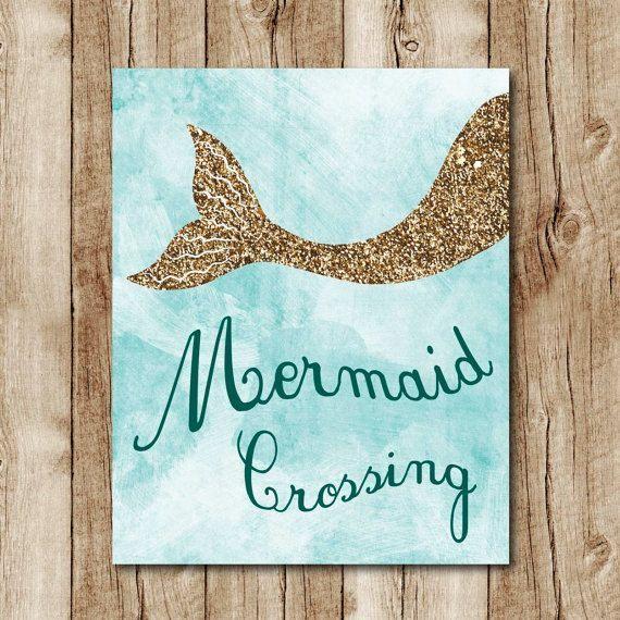 nice mermaid printable, gold glitter wall art, mermaid poster, light blue wall decor