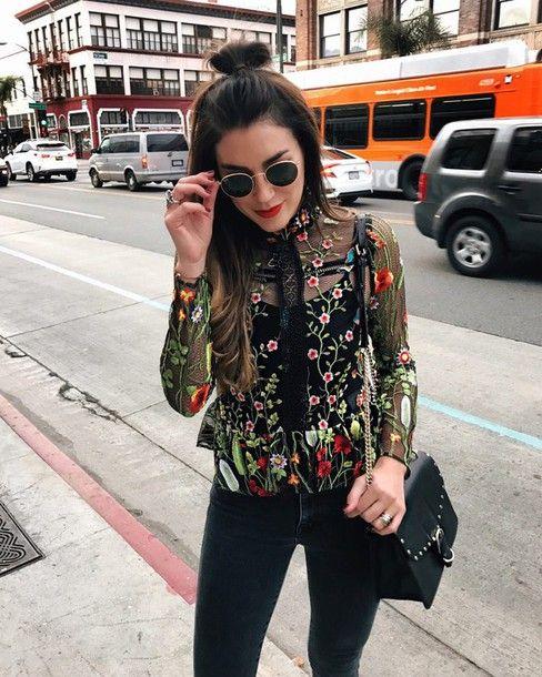 Shirt: hun tumblr see through see through top floral floral denim jeans black jeans bag black bag