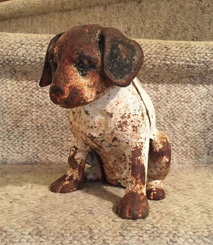 Vintage Antique Hubley Beagle Puppy Door Stop  Original Rust