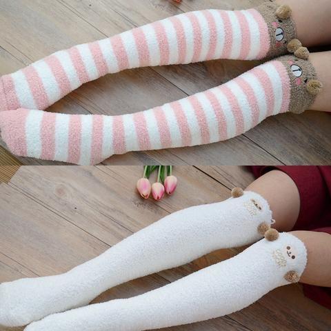 Warm and Fuzzy Over the Knee Animal Pom Pom socks (6 Options)