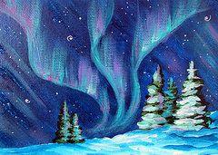 Northern Lights Paintings - Aurora Borealis by Marion Bradish