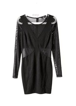 Kup mój przedmiot na #vintedpl http://www.vinted.pl/damska-odziez/imprezowe-slash-koktajlowe/20758364-czarna-dopasowana-sukienka-z-siateczka-ml