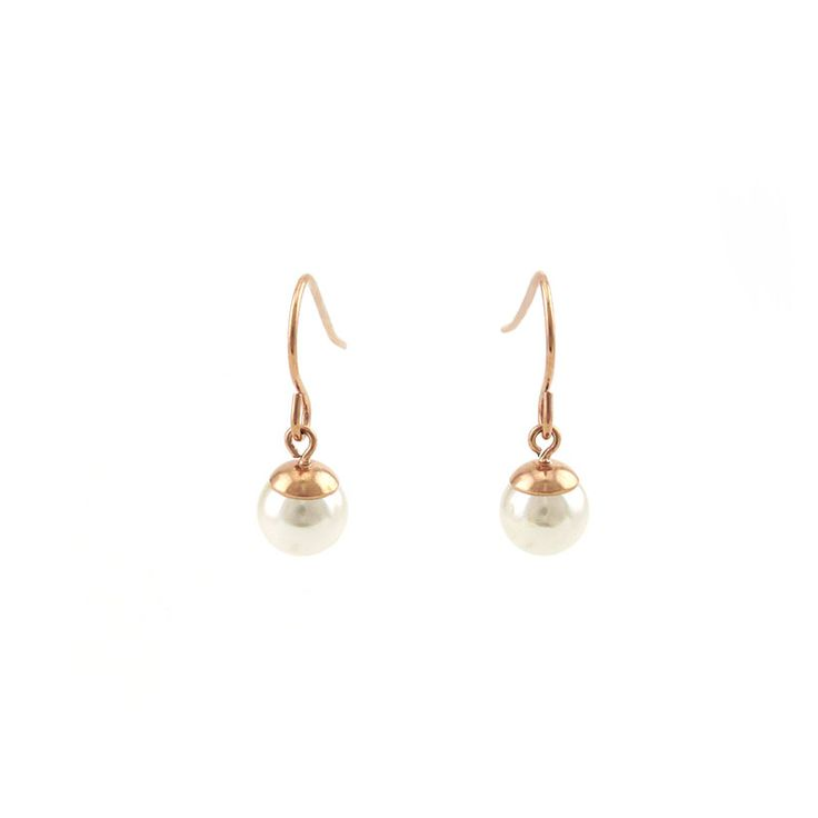 This exquisite pair of white freshwater pearl earrings are secured with hook backs. These classic earrings feature high quality perfect round white freshwater pearls with a high luster finish. The pearl measures 7.8 mm in diameter. The hook findings are made of 316L stainless steel in PVD rose gold plating. 1.5µ thick plating color guarantees