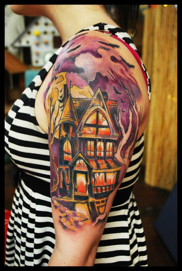 Cemetery and graveyard tattoo on half sleeve -  Haunted House Tattoo Inked On Volatileghost By Delicious Ink Tattoo