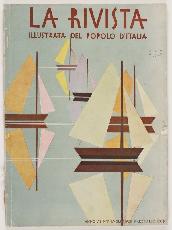 La Rivista, anno VII, n. 7 (Luglio, 1929), front cover: [Illustration of geometric shapes forming various sailboats, signed] Claris
