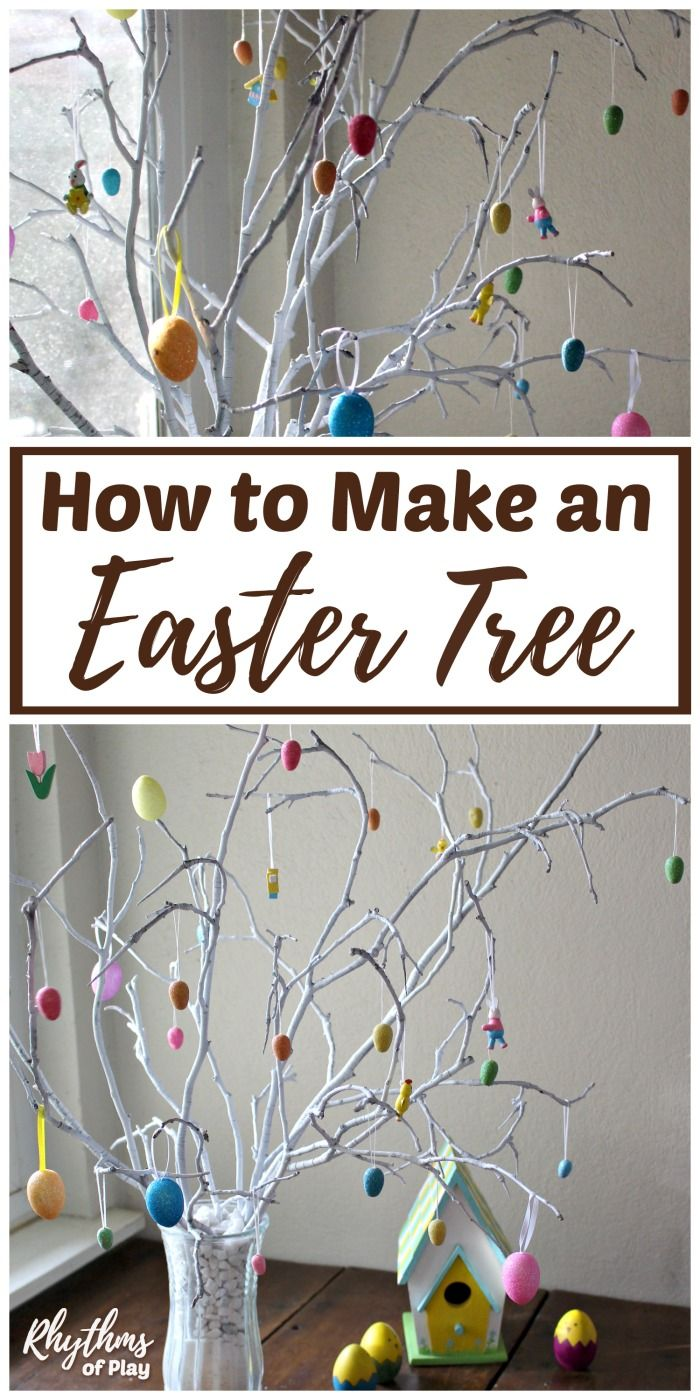 Add a rustic touch to your spring home decor with a DIY Easter tree made out of real branches. An easy Easter craft that makes a beautiful Easter decoration and centerpiece for your Easter table. Make DIY Easter ornaments and decorate the tree with the kids as a fun Easter tradition for families. #eastercrafts #spring #easter #craft #crafts #familyfun #traditions #easteregg #eastertree #diyeaster #diyholiday #diy