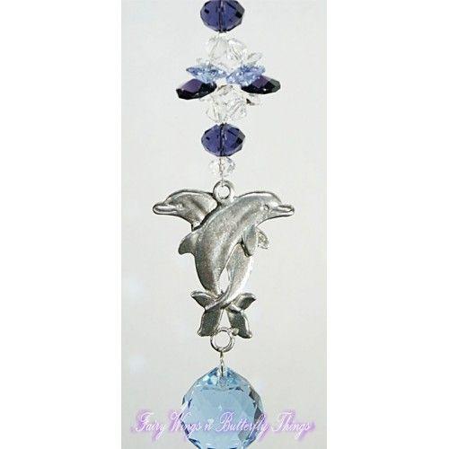 Dolphin Suncatcher - DPSC003 - Crystal Suncatchers, Stick on Stained Glass, Leadlight Adhesive Overlay - Just Like Leadlight