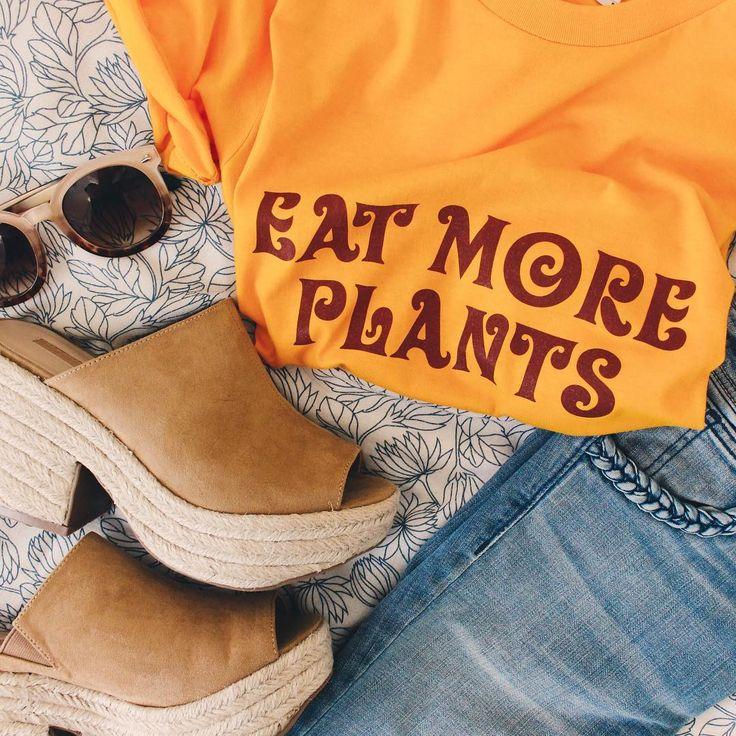 "Barefoot Babes ""Eat More Plants"" tee - cute vegan shirts! @BarefootBabesApparel https://barefootbabesapparel.com/"