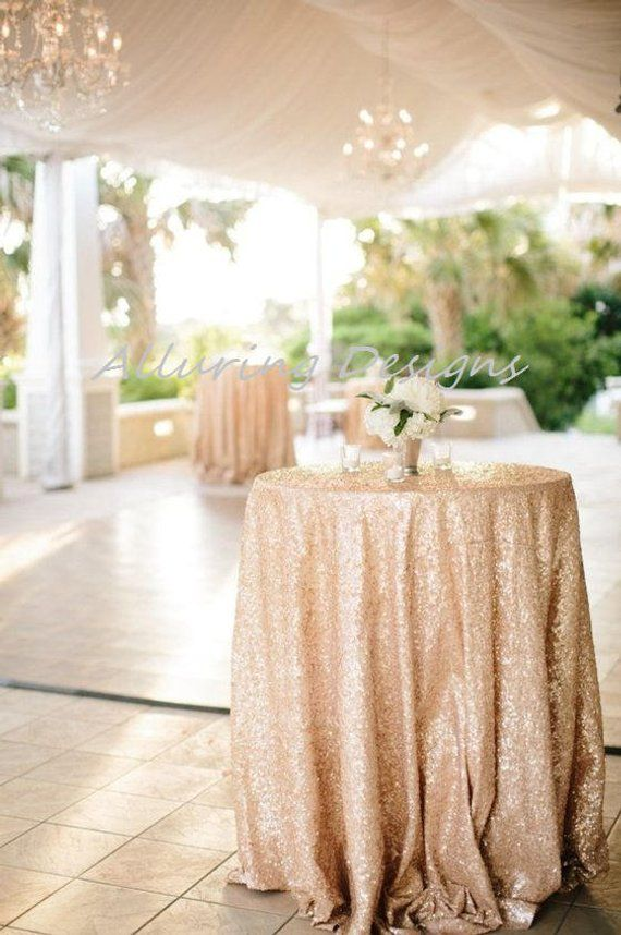Champagne Sequin Linens Tablecloth Runner Overlay Wedding Event