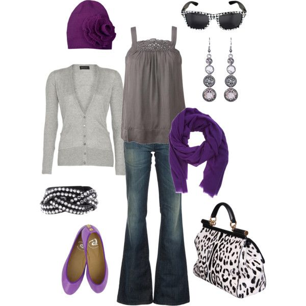 """""""purples"""" by htotheb on Polyvore - minus the hat and bag and shoes...love it lol"""