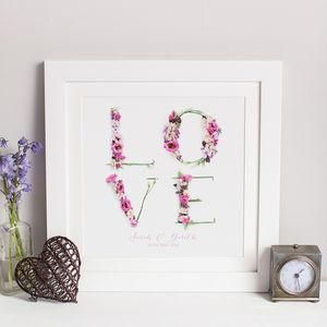Personalised Floral Love Wedding Photographic Print - The best wedding presents are always the ones that come from the heart, so capture the best qualities of the happy couple in your gift. Thoughtful and personalised presents for the newlyweds.