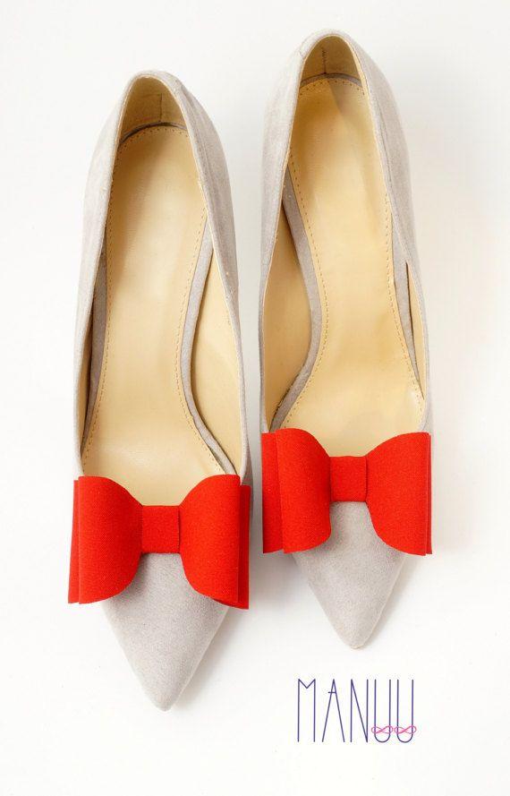 Red bows - shoe clips Manuu, shoe accessories, shoe bows, bow shoe clips