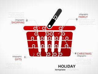 Christmas holiday infographic template with red shopping basket symbol made out of jigsaw pieces