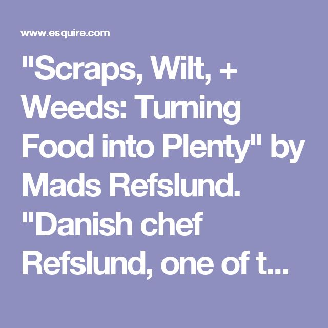 """Scraps, Wilt, + Weeds: Turning Food into Plenty"" by Mads Refslund. ""Danish chef Refslund, one of the founders of Noma, in Copenhagen, shows you how to elevate your cooking by putting a stop to pointless squandering.    Key trick: Don't buy fresh herbs only to let them get all gloopy in the crisper drawer. Have them dry out naturally on the counter and then crumble them into flavor dust. (Also: No time to cook that fish fillet you bought? Pack it in salt.)"""