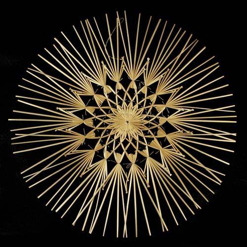 Strohstern filigran 34 cm Naturfaden