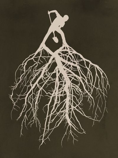 I like the idea of having the roots coming out of an object other than just text becoming one with nature