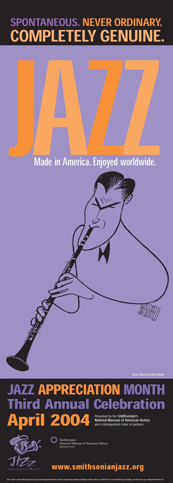 2004 JAM (Jazz Appreciation Month) Poster  ARTIE SHAW   http://www.smithsonianjazz.org
