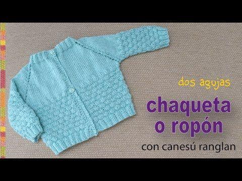 Chaquetita o ropón con canesú ranglan tejidos a dos agujas para bebés - Tejiendo Perú - YouTube