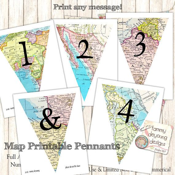Map Banner Garland Map Party Pennant Flags printable alphabet