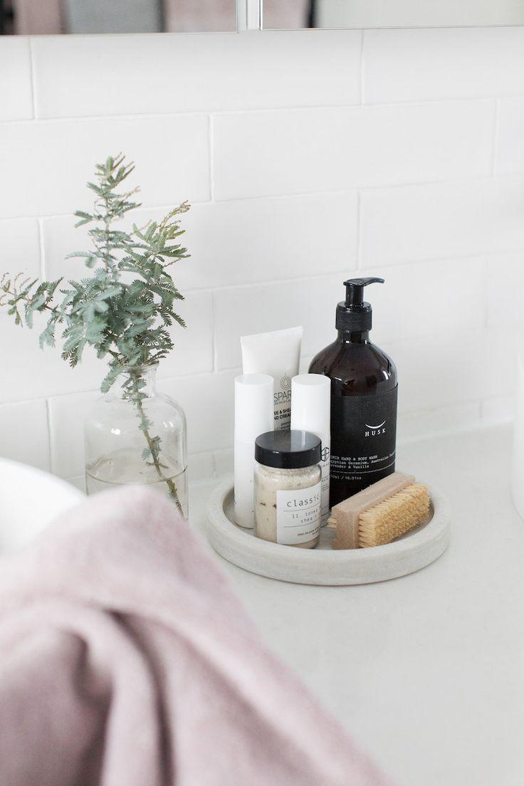 67417d6dfcf648b16788342c3c088165 Bathroom vanity styling, bathroom vignette, grey and blush pink bathroom decor, ...