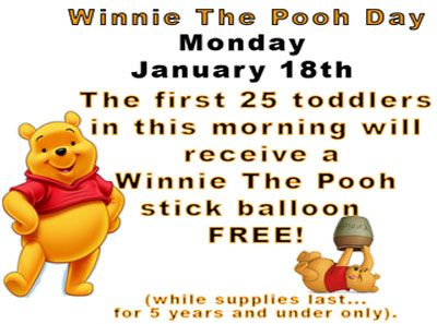 Winnie the Pooh Day at The Great Escape on January 18th, 2016.  #Family fun - Stick balloons.... WOW ! #Langley #Surrey #Aldergrove #Abbotsford #Vancouver