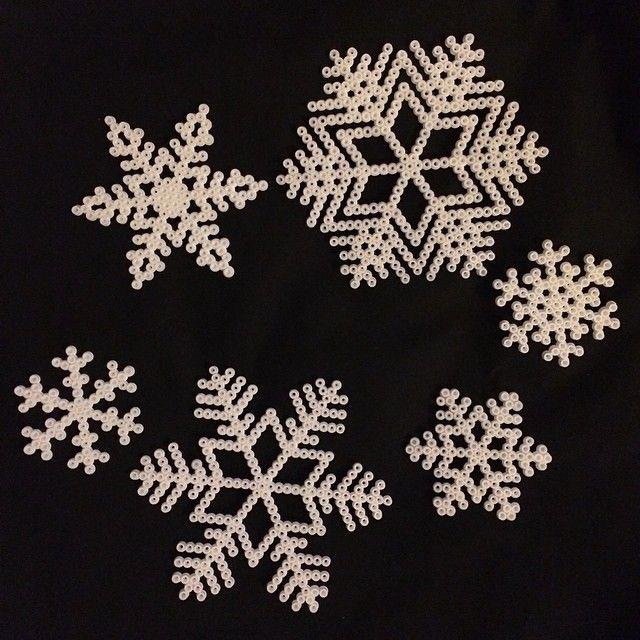Snowflakes hama perler beads by Katrine Haugaard