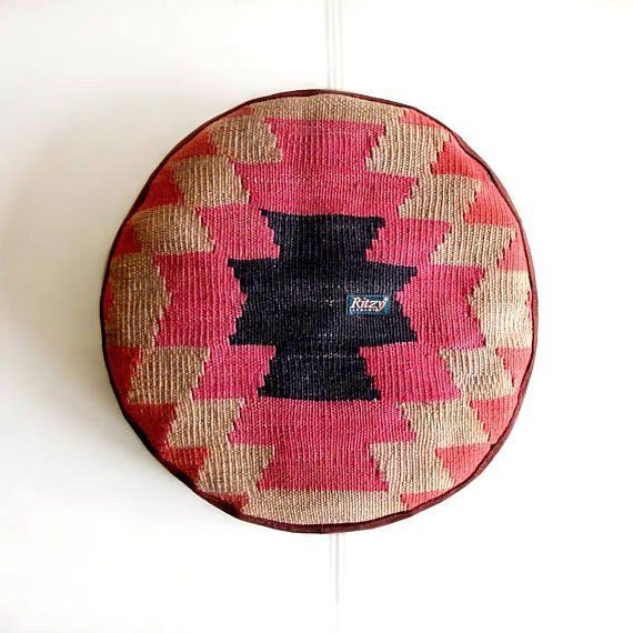 Mini pouf, Round Kilim Cushion, Meditation Pillow, Kelim pillow, Bohemian living, Turkish cushion, Round pillow, Home Decor,  (36x36 cm)