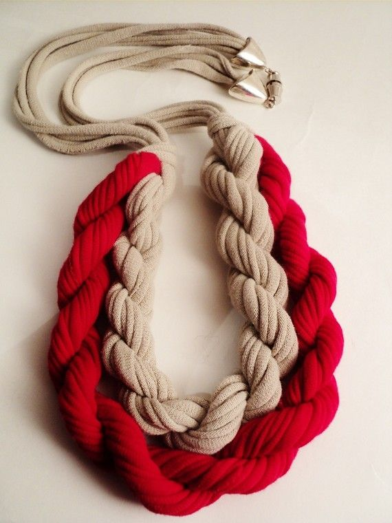 The Conqueror  Red And Cream Necklace by AshenDrift on Etsy