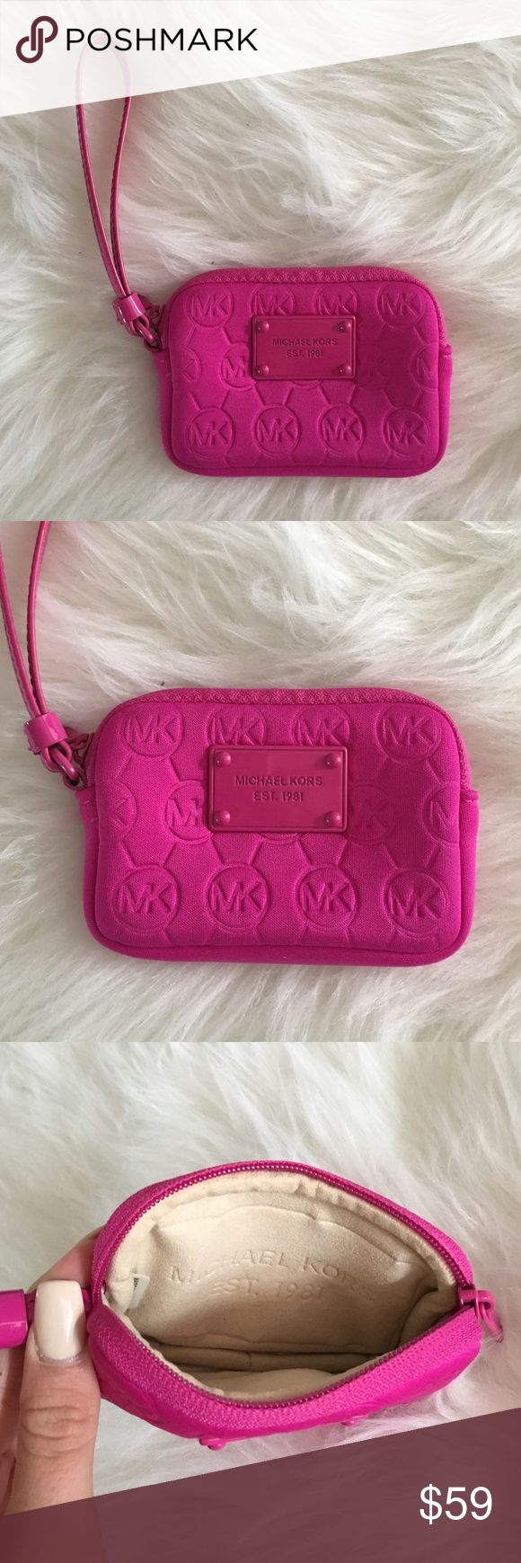 "MICHAEL KORS Small Wristlet - Bright Magenta Color MICHAEL KORS 5x3.5"" zip wristlet. Brand new condition, only used once. Neoprene foamy material, suede inside. Perfect for cash, cards, gum and a lipstick. Michael Kors Bags Wallets"