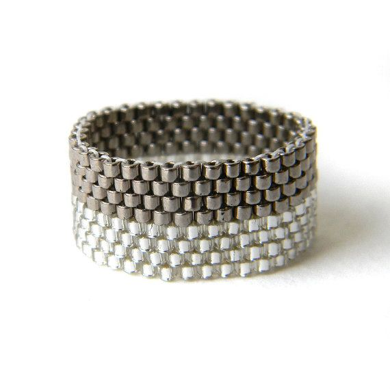 Grey sparkle beaded ring Stylish beaded ting Sparkly wide band ring Unusual minimalist ring Seed bead ring Beaded jewelry Wide gray ring