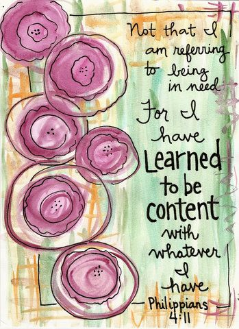 Phillipians 4:11 Learned to Be Content Bible Verse Illustrated Watercolor Print