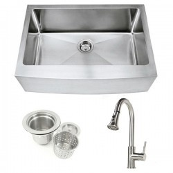 """30"""" x 21"""" x 10"""" single bowl farmhouse stainless steel apron sink in 15mm radius coved corners design with brushed nickel kitchen faucet and strainer combo deal!  http://www.emoderndecor.com/30-inch-stainless-steel-curved-front-farm-apron-kitchen-sink-and-single-hole-kitchen-faucet-combo.html#.UTXzkWMyXRg"""