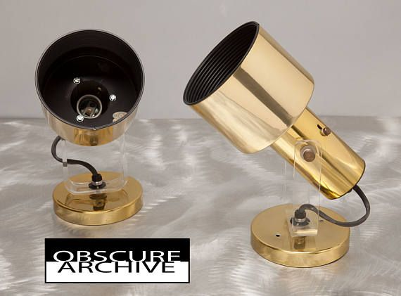 Pair Mid Century Modern Lights - Brass Housing with Acrylic Plastic Yoke - Wall or Ceiling Mount - Very 1960's - Lightolier