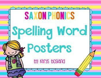 Saxon Phonics Spelling Word Posters {Kindergarten} {28 Lis