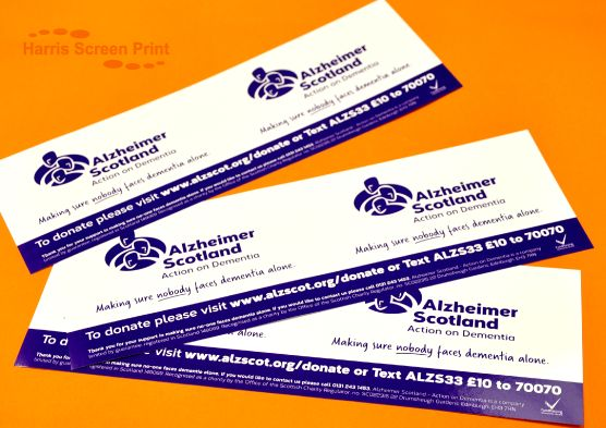 Waterproof collection tin stickers printed for Scotland charity