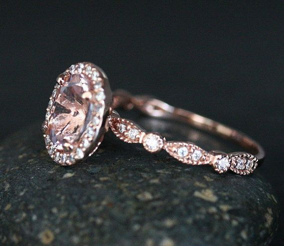 Morganite 14k Rose Gold Engagement Ring with por Twoperidotbirds