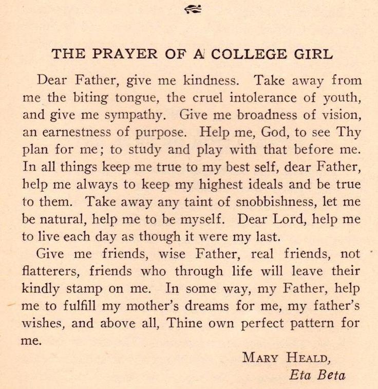 Prayer of a college girl