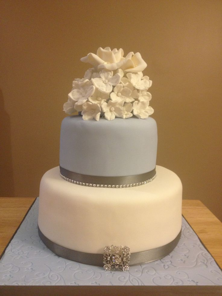Bridal shower cake - top layer Tartufo flavor with strawberry and raspberry filling, bottom tier strawberry shortcake