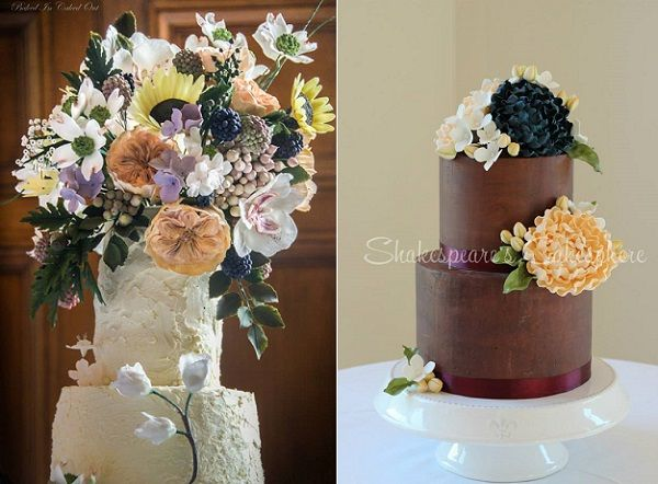 autumn wedding cakes by Baked In, Caked Out left, Shakespeare's Cakesphere right