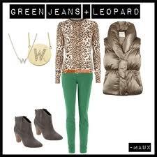 Green jeans + leopard