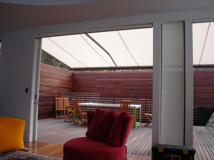 Modern Retractable Blinds and Awnings. Bring the indoors out with an Issey Laguna folding-arm awning and turn your patios into comfortable living spaces.