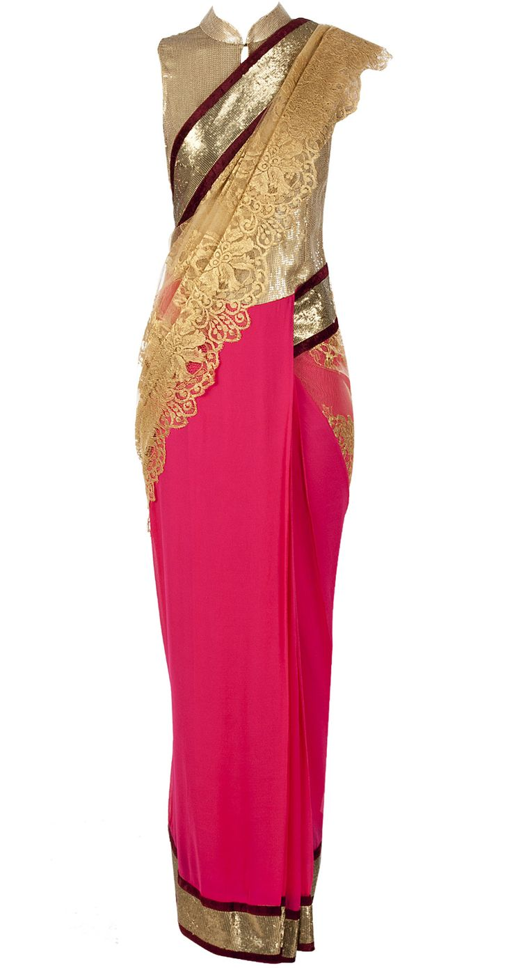 Fuschia and gold sari available only at Pernia's Pop-Up Shop.